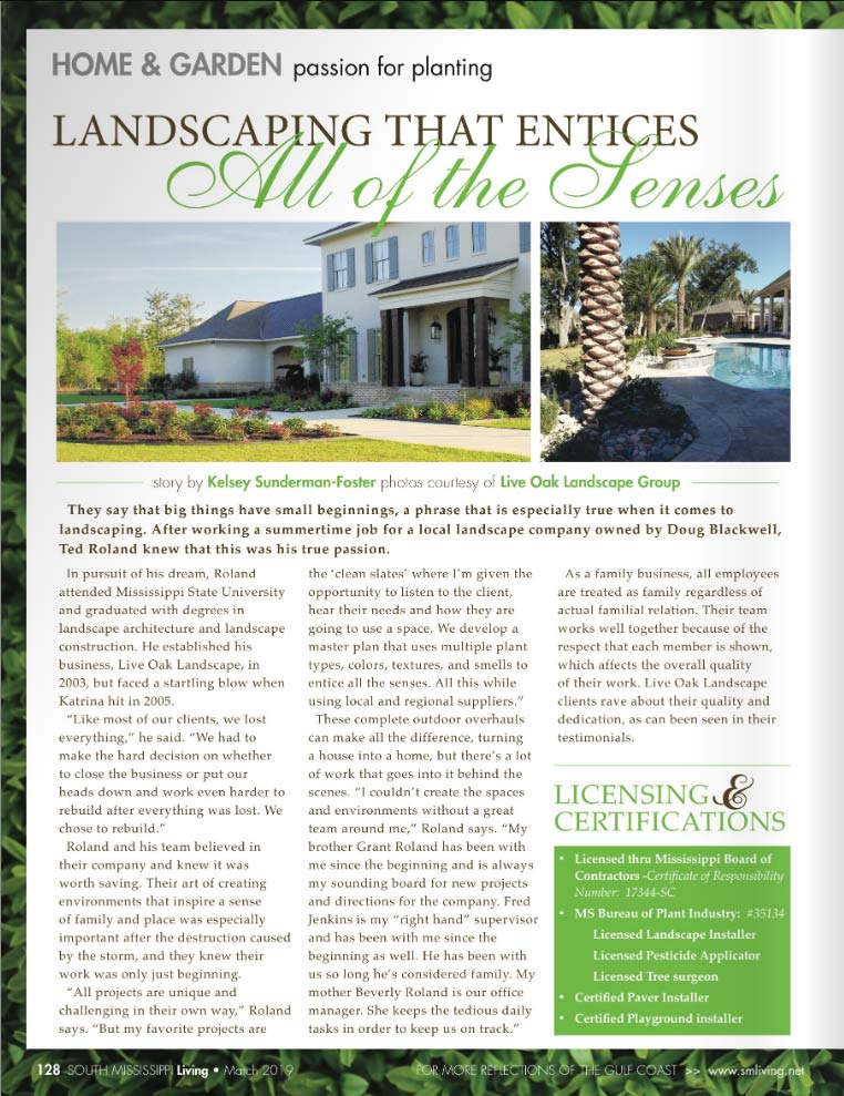 Live Oak in South MS Living Magazine Pg 1